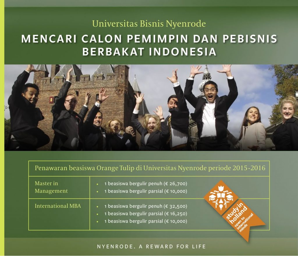 Beasiswa Orange Tulip 2015 di Universitas Nyenrode